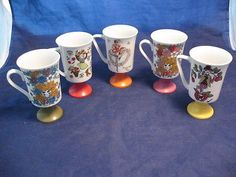 1970s Arnart 5th Ave Pia Maria Pedestal Mug Cup 8 oz Retro - 5pc Set