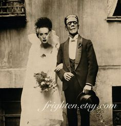 Halloween Decor, Frankenstein Mixed Media Collage Print, Bride and Groom, Halloween Wall Art