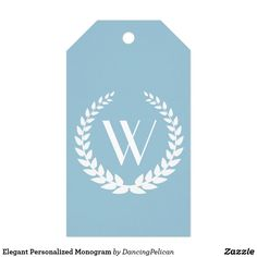 Elegant Personalized Monogram Gift Tags -This design features an elegant monogram encircled in a leafy wreath. The background color shown here is light blue and may be customized to the color of your choice. Sold at DancingPelican on Zazzle.