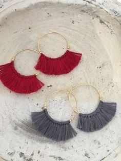 Boho earrings fringe earrings tassel earrings red grey crochet emboidery macrame earrings by MamaMaroon on Etsy https://www.etsy.com/listing/476773373/boho-earrings-fringe-earrings-tassel