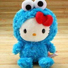 Fancy - Hello kitty as cookie monster plushie