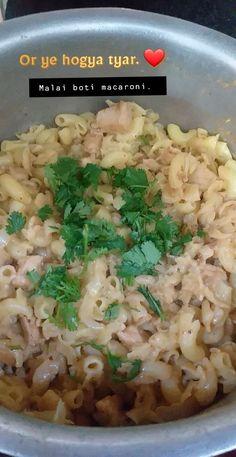 Malai boti macaroni so yummm Macaroni, Risotto, Grains, Rice, Ethnic Recipes, Food, Meal, Eten, Meals