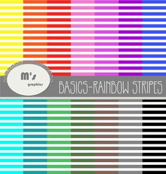 Digital Paper Pack Backgrounds Stripes. Rainbow colors. 16 digital papers for scrapbook, web design, fabric and paper printable
