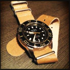 """Seiko """"Fifty Five Fathoms"""" mod on a Crown & Buckle natural tan leather NATO."""