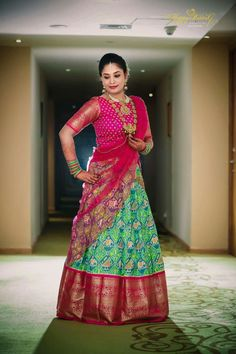Planning to shop silk half sarees? Here are 20 colorful half saree designs and how to style it with utmost elegance. Lehenga Crop Top, Half Saree Lehenga, Saree Look, Bridal Lehenga, Kids Lehenga, Lehenga Gown, Lehenga Blouse, Half Saree Designs, Lehenga Designs