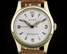 Rolex 9k Y/G Rare Honeycomb Dial Shock Resisting Vintage Mid-Size Precision