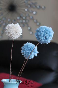 Colours for yarn Pom Pom flowers Pom Pom Tree, Pom Pom Flowers, Yarn Crafts, Diy Crafts, College Humor, Craft Ideas, Colours, Create, Party