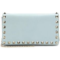 Valentino Rockstud Small Leather Shoulder Bag ($870) ❤ liked on Polyvore featuring bags, handbags, shoulder bags, blue, genuine leather handbags, blue shoulder bag, genuine leather purse, valentino purses and blue leather purse