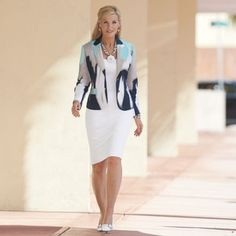 Abstract Suit from Monroe and Main. With princess seams front and back, shoulder pads and waist darts, this fully-lined suit presents great shape and structure in easy-on-the-eyes color. Female Portrait Poses, Suits For Women, Clothes For Women, Skirt Suit Set, Minimalist Wardrobe, Professional Outfits, Bellisima, Work Wear, What To Wear