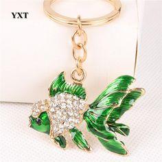 Goldfish Crystal Rhinestone Charm Key Ring