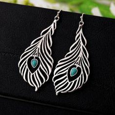 Pair of Ethnic Peacock Feather Shape Alloy Earrings For Women, BLUE in Earrings   DressLily.com