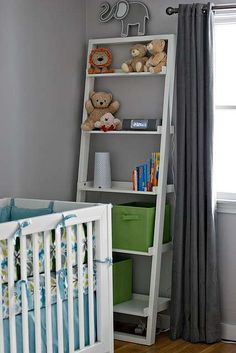 hmm i already have leaning shelves in the living room... too much for nursery too?? lol