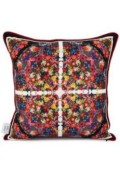 Made in UK this gorgeous red multicoloured printed silk #cushion for #interiors <3 #MadeinEngland #BritishDesign #IndependentDesign