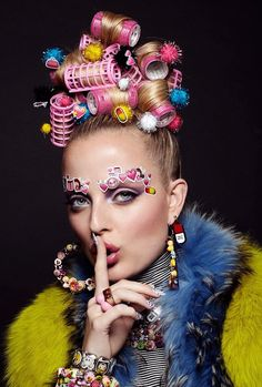 Emoji Girl Emoticon Beauty Editorial with Model Emily Steel, Stickers Covering face, Emoji Girl, emoticons, woman wearing curlers, hair rollers | NEW YORK FASHION BEAUTY PHOTOGRAPHER- EDITORIAL COMMER