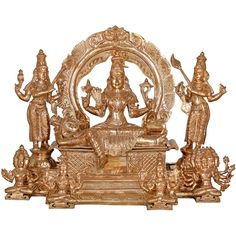 The famous verse, 'Sachamara Rama Vani Savya Dakshina Sevita' is clearly depicted in this sculpture, where Rama and Vani are Goddess Lakshmi and Saraswati who stand on right (dakshina) and left (savya) respectively and serve (sevita) the reigning deity with chamara (fans). The one in centre is goddess Durga in the beauteous form of Sri Lalitha Tripura Sundari Devi representing the fact, 'Shiva without Shakti is shava'. Quilling Dolls, Hindu Statues, Nataraja, Divine Mother, India Art, Goddess Lakshmi, Lord Shiva, Deities, Sculptures