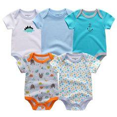 ee383ba29 5PCS/LOT Unisex Top Quality Baby Rompers Short Sleeve Cottom O-Neck 0-12M  Novel Newborn Boys&Girls Roupas de bebe Baby Clothes