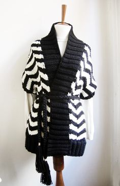 hand knit cardigan vest ZIG ZAG in black and white by ovejanegra, $135.00