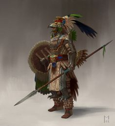 Aztec Knights: Eagle Knight by Manuel Castañón - Your Daily Dose of Amazing beautiful Creativity and Digital Art - Fantasy Characters: Archers Assassins Astronauts Boners Knights Lovers Mythology Nobles Scholars Soldiers Warriors Witches Wizards Fantasy Armor, Medieval Fantasy, Fantasy Character Design, Character Art, Aztec Statues, Aztecas Art, Aztec Culture, Aztec Warrior, Fantasy Inspiration