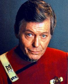 "DeForest Kelley, actor, Leonard ""Bones"" McCoy from Star Trek born in Toccoa, Ga. for Elaine Star Trek Crew, Star Trek Spock, Star Trek Tv, Star Trek Original Series, Star Trek Series, Science Fiction, Star Trek Images, Star Trek Universe, Before Us"