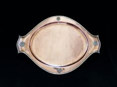 Arts and Crafts hammered copper tray with applied silver Tudor roses and silver edge decoration by Albert Edward Jones