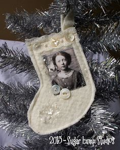 Miss Twinkle Lights Shabby Stocking Fabric HANDMADE Christmas Ornament  Love this idea for some of my old family photos - like, great grandparents!! Mini Christmas Tree Decorations, Different Christmas Trees, Quilted Christmas Ornaments, Handmade Christmas, Christmas Stockings, Vintage Christmas, Christmas Projects, Christmas Holidays, Christmas Ideas