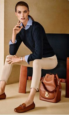 Khaki Pants Outfit Work Winter - Khaki Pants Outfit Work - Winter Outfits for Work Beige Pants Outfit, Khaki Pants Outfit, Outfit Jeans, Men's Jeans, Preppy Look, Preppy Style, Formal Pants Women, Ralph Lauren Womens Clothing, Preppy Outfits