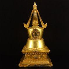 Chinese Ming Dynasty Gilt Gold Bronze Buddhism Pagoda 中國明代 鎏金青銅 佛教佛塔