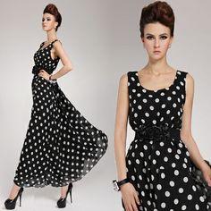 Cinto livre Moda elegante chiffon de seda moda 2014 vestido de verão vestido cheio mangas vestido ocasional do assoalho-comprimento de bolinhas 18.99