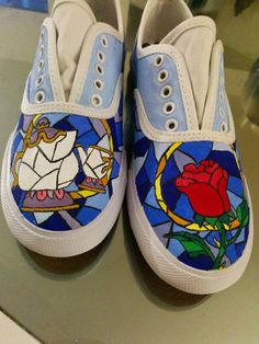 Diy hand painted shoes! Beauty and the beast #disney #craft #disneycraft #diy