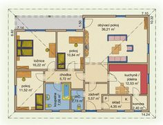 Rodinný dům Bungalov Line 115 – dřevostavba, bungalov na klíč Floor Plans, Floor Plan Drawing, House Floor Plans