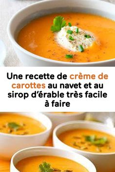 A recipe of carrot cream with turnip and maple syrup very easy to make, Soup Recipes, Cooking Recipes, Healthy Recipes, Carrot Cream, Good Food, Yummy Food, Curry, Comfort Food, Eat Smart