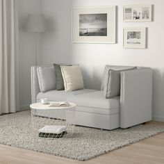 VALLENTUNA Mod sofa, 2 seat w 2 slpr sections, Orrsta light gray. One sofa, lots of possibilities. In need of extra beds, smart storage or a comfy reading corner? Ikea Vallentuna, Cama Ikea, Beds For Small Spaces, Loveseats For Small Spaces, Flexible Furniture, Steel Bed, Ikea Family, Bed Slats, Loveseats