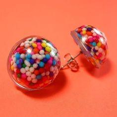 Resin Sprinkle Earrings  Rainbow Dots by HighStrungBead on Etsy, $8.00