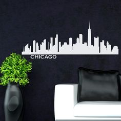 Chicago Skyline Silhouette Wall Decal Custom Vinyl Art Stickers - Custom vinyl decals chicago