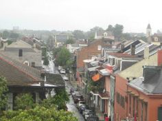 Hotel Villa Convento: View from front balcony into Quarter, Royal St, Bourbon St, etc