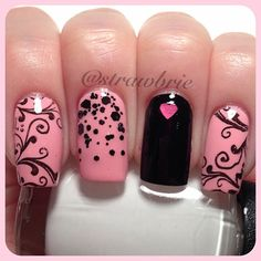 Pink/Black Heart Nails ❤
