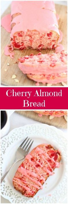 This easy quick bread is chock-full of maraschino cherries and almond flavor, and drenched in an unbelievable maraschino cherry-almond glaze!