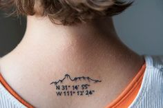 Tattoo #2, 2012 - Tattoo depicting Bavoquibari Mountain and GPS coordinates. Richard Barnes on migrations, borders and fences.  From the 'State of Exception,' photographic series.