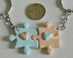 Items similar to BFF Puzzle Pieces Friendship Keychains - Set of 2 Personalized Best Friends Forever Keychains, Best Friends Accessory, BFF Keychains on Etsy Fimo Kawaii, Polymer Clay Kawaii, Polymer Clay Charms, Polymer Clay Jewelry, Polymer Clay Projects, Polymer Clay Creations, Diy Clay, Clay Crafts, Tape Crafts