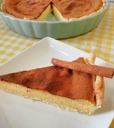 1 embalagem de massa quebrada. 200g de açúcar. 50g de farinha com fermento. 5 ovos. 4 dl leite. 1 casquinha de limão. canela em pó q.b. Ligue o forno a 180graus. Unte uma tarteira de 25cm com manteiga e polvilhe-a com farinha. Forre-a com a massa... Tapas, Tiramisu, Sweet Tooth, Pie, Cooking, Ethnic Recipes, Desserts, Self Rising Flour, Butter