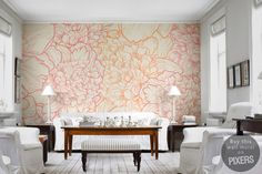 Wall Mural Delicate flowers - inspiration wall mural, interiors gallery• PIXERSIZE.com
