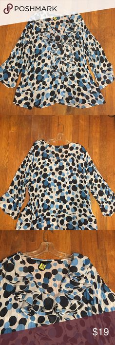 "ASHLEY STEWART RUFFLE FRONT POLKA DOT TOP Such a fun top!! Pair this plus size multi colored polka dot top with skinnies or a skirt for a super fresh look. Slightly Sheer Cascading Ruffle V-neckline flowing down the front with 6 buttons. Long sleeves. A stand for Fab #workflow style. One layer of Ruffles at the sleeve wrist. From armpit to armpit 27.5"", from shoulder to hem 31"". 100% Polyester. There are black spots in a few places (see close up pics) that didn't come out after dry cleaning…"