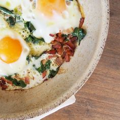Crispy Bacon, Wilted Silver-Beet and Sunny Eggs.