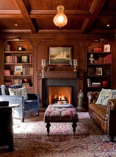 Rich colors, comfy furniture and cozy paneling make these masculine spaces inviting, but you can keep them as private as you please