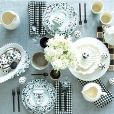 Decorate your tabletop with graphic black-and-white instead of cliche pastels.  See more ways to revamp your home for spring: