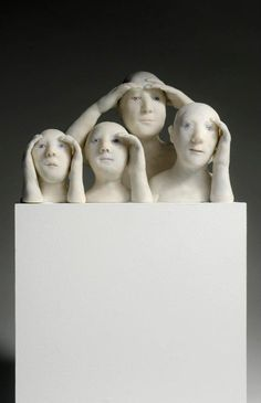 The sculptures of the French artist, Agnes Baillon reveals unique items in papier mache resin, painted white and bronze in some areas, whose delicate accomplishment conveys a subtle play on the human physiognomy, accentuated with an almost dream-like tranquility.