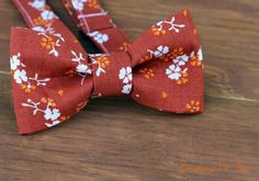 Boys Bow Tie -Orange and White Ditzy Flowers on a Dark Orange Woven Cotton Background, bowtie for infant, toddler, child
