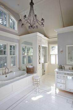 Elegant bath! I love this bathroom floor design!!