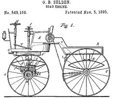 "In 1879 George B. Selden was the first person to file a patent for a gasoline-powered automobile, which he called a ""road engine."" Sort of looks like a #bike, right? #history"