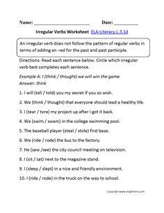 Irregular Verbs Worksheet 1 ELA-Literacy.L.3.1d Language Worksheet